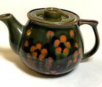 Vintage Ceramic Glazed Green Teapot with orange abstract floral