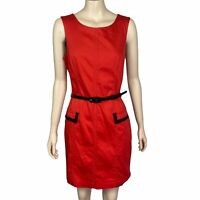 REVIEW Women's Size 14 Orange Sleeveless Belted Corporate Business Sheath Dress
