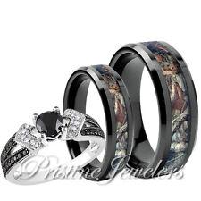 Titanium Mossy Forest Oak Camo Band Set Women 925 Sterling Silver Ring Men Black