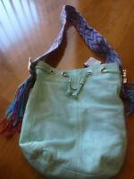 Moiss Women's Leather Purse NWT Blue Saddle Bag Multicolor Woven Strap