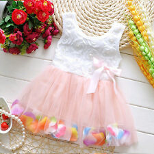 Girls Kids Baby Princess Bow Lace Tulle Tutu Dress Schoolo Preppy Party Dresses