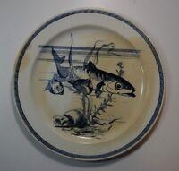 Antique XIX Plate French Faience Choisy Le-Roi Hautin Boulenger Tai Fish Decor