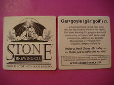 Beer Coaster ~*~ STONE BREWING ~ Gargoyle Design ~ San Diego, CALIFORNIA Brewery