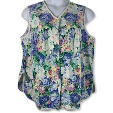 New listing Vintage Handmade Tank Top Floral Snap Front Pockets Pastel Womens Shirt