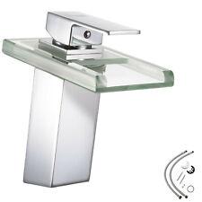 LED Badarmatur Waschtisch Wasserfall Wasserhahn Einhandmischer Waschbecken Glas