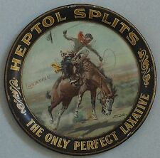 VERY RARE ADVERTISING TIP TRAY FOR HEPTOL SPLITS LAXATIVE ARTIST CHARLES RUSSELL