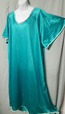 VALENTINE  GREEN WITH GREEN TRIM    TRICOT NYLON ANKLE LENGTH NIGHTGOWN  SIZE 6X