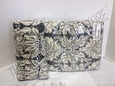 Ballard Designs Remington Damask Bed Quilt Twin & 1 Standard Pillow Shams Gray