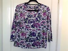 Gorgeous White And Purple Flowered Cotton Top With Sequin Detailq