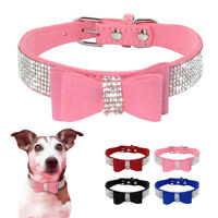 Rhinestone Diamante Dog Collar Soft Suede Bowknot for Doggie Puppy Cat Small Pet