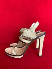 Gucci Cream Leather Platform Sandals Size 39