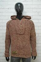 Maglione con Cappuccio Uomo YELL Taglia L Felpa Sweater Man Cardigan Pullover
