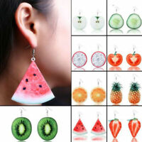 Women Large Fruit Apple Strawberry Pineapple Drop Dangle Hook Earrings Jewelry