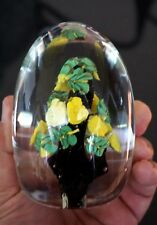 A Beautiful Murano Tree With Yellow Flowers Paperweight