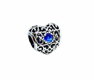 Genuine Pandora Openwork Signature Heart September Blue Sapphire Charm 791784SSA