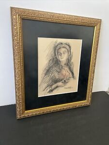 FREIMAN STOLTZFUS Amish Woman Holding Candle Signed Original Matted Framed 1999