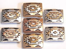 7 - 2 HOLE SLIDER BEAD COPPER SILVER BRASS SOUTHWESTERN NAVAJO PATTERN TRI-COLOR
