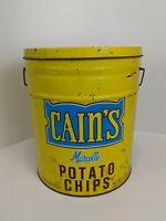"""Vintage CAIN'S POTATO CHIPS 3 Pound Can Advertising Storage Tin 14"""" X 12"""""""