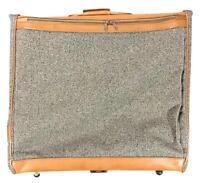 Vintage Hartmann Wheeled Garment Bag Tweed Belting Leather Suitcase Luggage