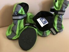 New Top Paw Reflective Dog Boots Sz Extra Small Set Green Gray Rubber Soles XS