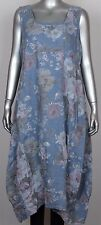 New Ladies Floral Italian Lagenlook Quirky Long Boho Pocket Linen Tunic Dress