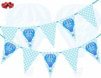 Baby Boy Hot Air Balloon Theme Bunting Banner Newborn party by PARTY DECOR UK