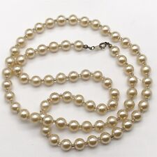 VINTAGE SOLID SILVER CLASP FAUX PEARL LONG LADIES NECKLACE