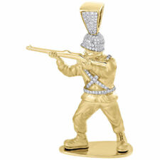 Diamond Toy Soldier Pendant Mens 10K Yellow Gold Military Gun 3D Charm 3/4 Ct.