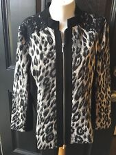 New $149 Chico's Black White Zip-Up Jacquard Leopard Lace Jacket 3 XL 16 18 NWT