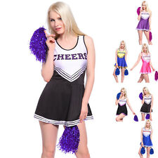 Cheerleader Fancy Dress Costume Outfit With Pom Pom's High School Musical Girls