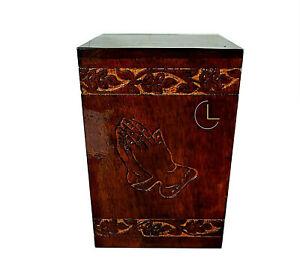 Hand Carved Wooden Ash Box Human Cremation Urns Funeral Keepsake Urn for Pets