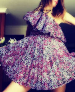 giambattista valli x hm dress Organza tulle floral Ruffle off shoulder 8 36 new