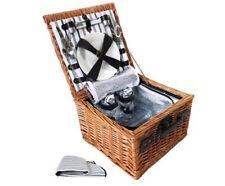 Picnic Basket Set 2 Person for Camping Beach Caravan w/ Cooler Bag Blanket NEW