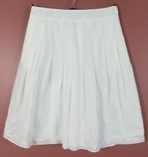 SK15642- TALBOTS Women's Cotton Pleated A-Line Skirt Floral Embroidery White 2