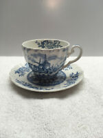 Johnson Brothers Tulip Time Blue White  1 Cup  1 Saucer England