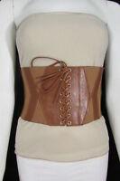 Women Elastic Fabric High Waist Fashion Wide Stretch Corset Belt S M Black Brown