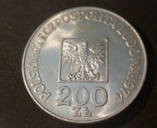 1974 Almost uncirculated Poland 200 Zloty Silver Coin