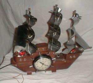 AMAZING Vintage United Electric Clock 811 Tall Sailing Ship w/Clock Wheel LIGHTS