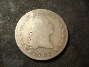 1795 F VF Detail Two Leaf Flowing Hair Dollar Silver Dollar Coin  AZX