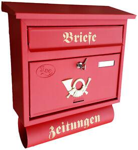 Moderner großer Briefkasten / Postkasten in Rot + Zeitungsfach Katalogeinwurf P