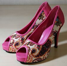 VEKA SERIES Pink Peeptoe Pumps mit tollem Muster, High Heels, Gr. 38, NEU