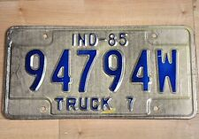 Truck 7 USA Auto LKW Metal License Plate Nummernschild 1985 Indiana Blech Schild