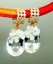 14k Gold Crystal Paved Filigreed Hoop Moonstone Briolette Earrings