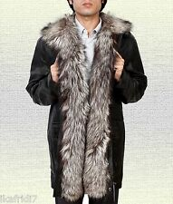 Men Fashion Silver Fox Fur Handmade Sheep LEATHER JACKET Black S-5XL Sizes
