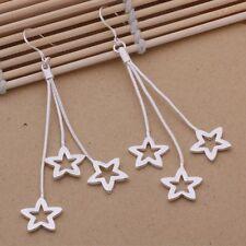 Earrings Star Stud Chain Hook Drop Dangle Ladies 925 Sterling Silver Multi Gift