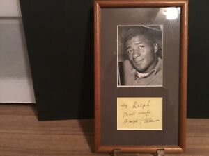 Floyd Patterson autograph cut display in frame