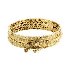 Judith Ripka 14K Yellow Gold Diamond 5-Bangle Bracelet Set