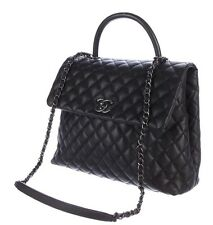 Chanel Quilted Black Caviar Leather Large Coco Handle Bag With Ruthenium HW