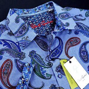 Robert Graham Paisley Medallion Lightweight Linen Blend Short Sleeve Shirts 3XL