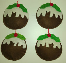 Set of 4 CHRISTMAS PUDDING felt fabric hanging TREE DECORATIONS handmade NEW